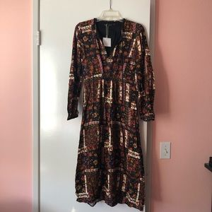 ZARA - black floral long sleeve dress (size xs)